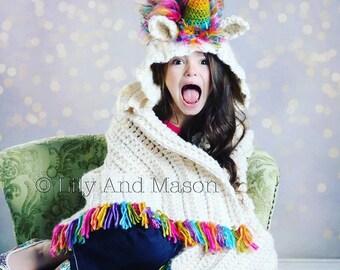 Unicorn Crochet Pattern, Unicorn Crochet, Unicorn Pattern, Crochet Baby Blanket Pattern, Hooded Blanket, Unicorn Blanket, PDF Pattern