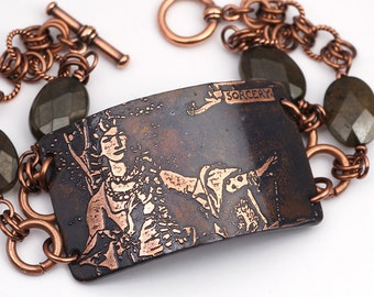 Sorceress bracelet, brown bowenite beads and etched copper, two strand, sorcery, King Arthur jewelry, 7 3/4 inches long