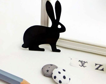 Rabbit brooch | Black perspex brooch | Rabbit jewellery | Woodland animal accessories  | Statement brooch | Hopping hare