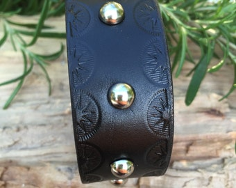 Hand Tooled Black Leather Cuff Bracelet, Silver Studs