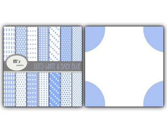 Polka Dots Patterns in Baby Blue and White. 14 digital papers for scrapbooking, web design, party decorations