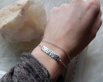 Silver Bar Bracelet | Dainty Bracelet Silver Bracelet Hammered Bar Bracelet Dainty Silver Bracelet Delicate Bracelet Layered Silver Bracelet