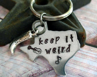 Texas Keychain - Hand Stamped, Texas State Shape, Stainless Steel Keyring, Keep It Weird, Cowboy Boot, Men, Women Gift