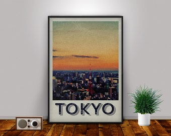 Tokyo Print, Japan, Tokyo, Tokyo Art, Travel Poster, Tokyo Printable, Tokyo Decor, Travel Art, Retro Print, Travel Art, Wall Art, Wall Decor