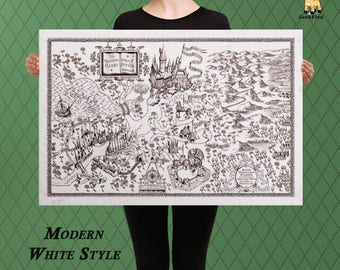 Harry Potter, Classic Hogwarts Map, Castle Map, King's Cross, Custom Raised Canvas Art Piece