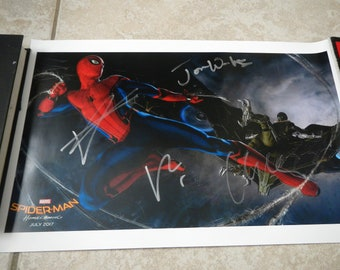 Spiderman Homecoming Tom Holland Robert Downey Jr. signed poster 11x17
