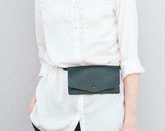 Belt bag leather black, leather waist bag, leather waist pack, leather handmade belt bag, minimalist leather belt bag, belt pouch wallet