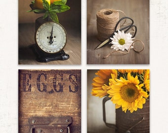 Rustic Kitchen Wall Art, SET of FOUR Prints or Canvases, Brown and Yellow Decor, Fixer Upper Decor, Rustic Country Art, Set of Rustic Prints