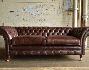 Handmade Vintage Dark Brown Leather Belmont Chesterfield Sofa With Mahogany Brass Caster Feet.