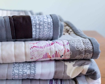 Modern Organic Cotton Quilt; Custom, Made to Order, Crib, Toddler, Throw, Twin, Contemporary Patchwork Quilt, Silver, Gray, Taupe, Purple