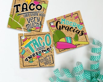 Taco Party Favor Tags, Instant Download, Printable, Fiesta Favor, Fiesta Party Gift Tags, Taco Party Goodie Bags, Cinco De Mayo Favor Tags