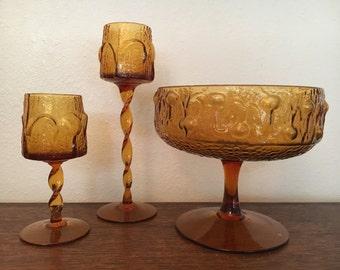 Wayne Husted Stelvia Amber Glass Spiral Stem Votive  Candle Holders Set of 2