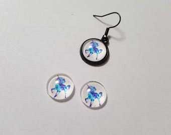 2 glass cabochons 12mm blue Unicorn fantasy