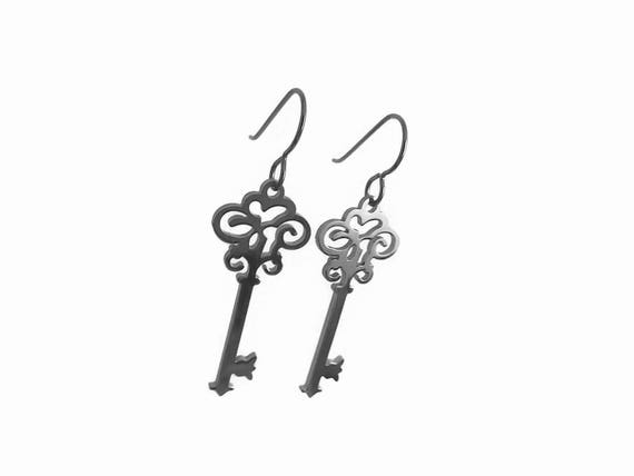 Silver key dangle earrings - Hypoallergenic pure titanium and stainless steel