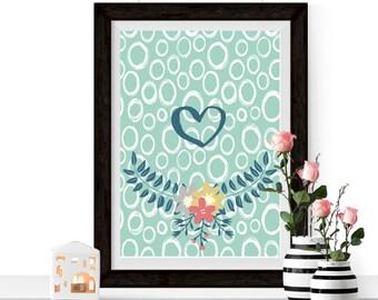 Turquoise Print, Pretty Wall Print, Print At Home, Digital Print, Bathroom Print, House Warming Gift, Printable Gift, Printable Present