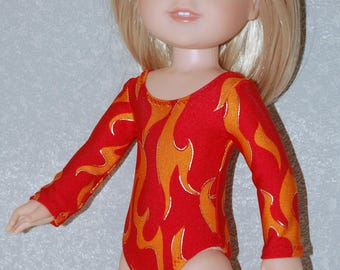 Gymnastics Leotard Doll Clothes flames print  handmade for 14.5 inch Wellie Wishers tkct1118 READY TO SHIP