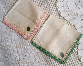 2 IRISH LINEN HANKIES Lovely Cream Flax Fabric, Pink Green Mini Rick Rack Edging Paper Labels, Unused Vintage 1950s Lady Gift