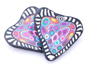 Polymer Clay Brooch - SALE item - Zentangle Jewelry - Heart Brooch - Handmade Polymer Clay Jewelry - Polymer Clay Canework - 1 3/8 inches