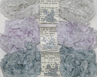 Shabby Crinkle Ribbon , Seam Binding , 18 YARDS , COOL NEUTRALS , Orchid Crinkled Ribbon, Grey Wrinkled Ribbon, Light Beige, Bluebirdlane