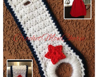 Crochet PATTERN (pdf) – 4th of July Towel Ring -  Instant Download