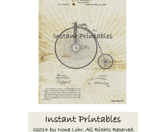SALE Bicycle Patent Print 1881 Printable Digital INSTANT DOWNLOAD Wall Decor Velocipede Art Penny Farthing Large Front Wheel 1/2 price