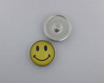 Smiley Face yellow - Snap It ASA217  Popper Chunk Snap Button Interchangeable 18mm 20mm snap