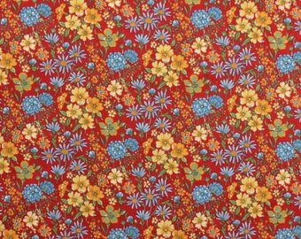 Cotton Quilting Fabric, Cotton Floral Fabric, Red Fabric, Red Floral Fabric, Sewing Fabric, Meadow Flowers - 1 7/8 Yard - CFL2261