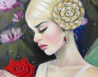 Victoria - original acrylic painting, original art, Victoriana, J W Waterhouse inspired, rose painting, lowbrow, pre raphaelite, Australian