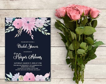 Bridal Shower Invitation, Navy Blue Bridal Shower, Pink Floral Bridal Shower, Floral Bridal, Baby Shower, Bridal Brunch, Bridal Luncheon