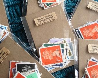 20 Vintage Queen Elizabeth Postage Stamps