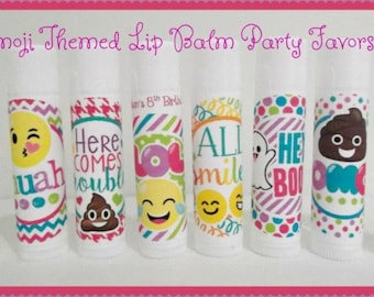 Emoji Themed Lip Balm - Emoji Lip Balm Favors - Emoji Party Favors - Custom Lip Balm - Free Personalization - Set of 15