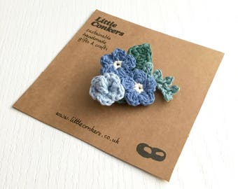 Blue Flowers Brooch Bouquet Corsage Buttonhole Spring Wedding Something Blue Floral Brooch Pin Forget-me-Not / Small Gift for Women
