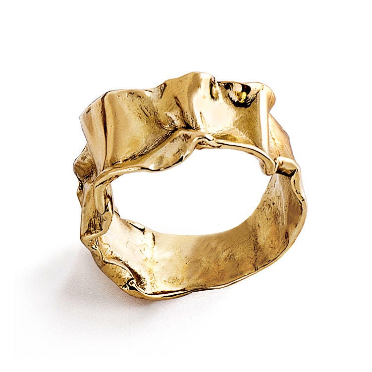 CRUMPLED 14k Yellow Gold Ring for women Unique Gold Ring