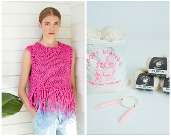 Loopy Mango DIY Kit - Tank Top with Fringe - Big Cotton