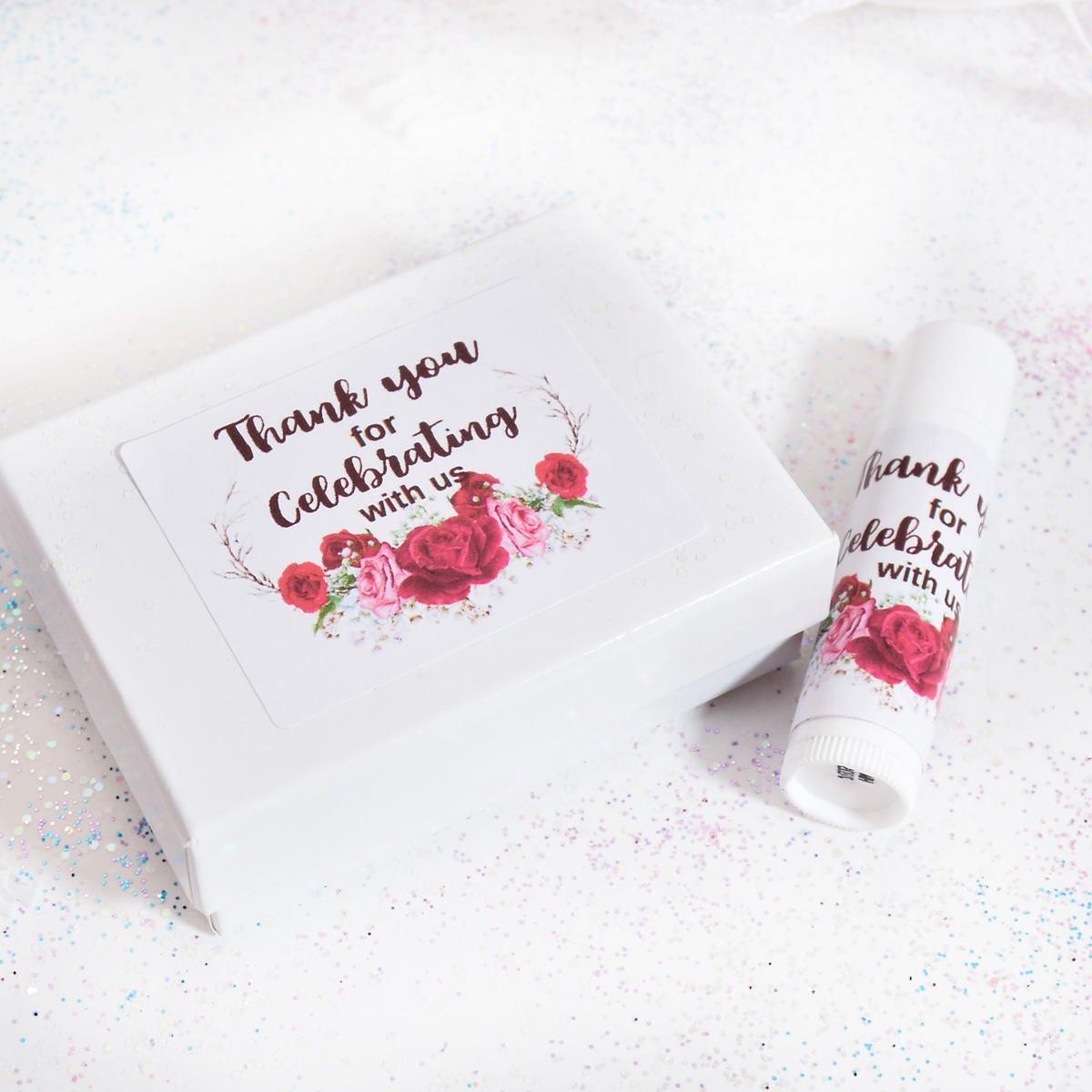 Lip Balm Label Red Floral Chapstick Labels Wedding Lip Balm