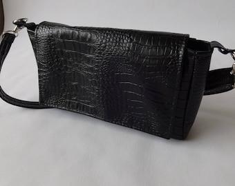 Faux crocodile black clutch bag