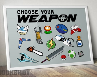 Choose Your Weapon: Nintendo, Instant Download, Poster, Digital Print, Mario, Zelda, Metroid, Mega Man, Switch, Controller, Link, Video Game