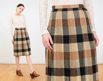 60s Skirt | Checkered Skirt | Preppy Plaid Skirt | School Girl Wool Skirt | 1960s Pleated Skirt | Knee Length Skirt | Gray Tan Black | S 26