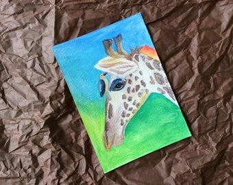 Aquarell Postkarte Giraffe mit Vogel