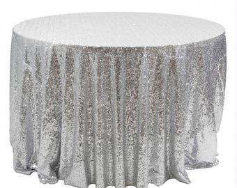 Superbe Silver TableCloth, Silver Sequin Linens, Silver Weddings, Sparkly Sequin  Tables, Metallic Table Linens