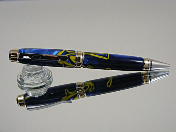 Handcrafted Cigar Style Ink Pen in Chrome with 24K and Royale Blue Acrylic