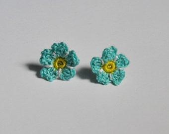 Crochet Forget Me Not Earrings
