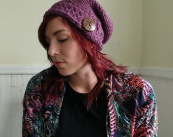 Chunky Knit Button Hat--Fig