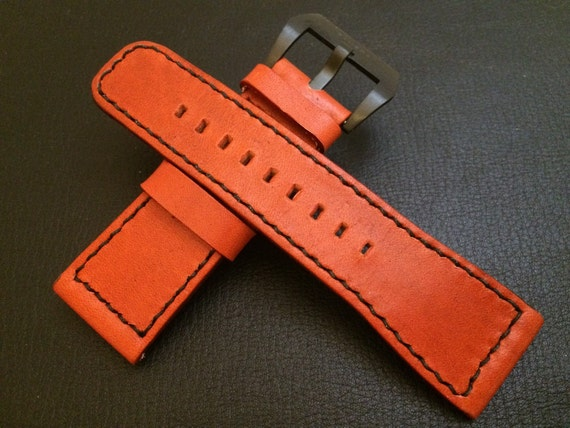 Leather Watch Band, Leather watch strap, 28mm watch band, genuine leather, strap replacement, SevenFriday, Orange watch strap, FREE SHIPPING