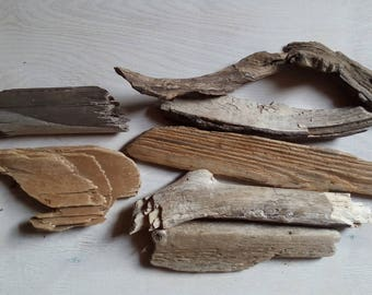 Driftwood pieces, set of 7, natural rustic wooden decorative supplies