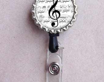 Treble Clef Badge Reel, Music Teacher, Music Theme, ID Clip, Retractable Badge Holder, Music Badge Holder, Gift for Teacher