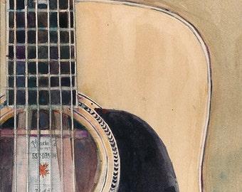 Martin Guitar SSC-D35-14 (Canada) - Watercolor Art Print - Size  8.5 x 11 or 12 x 18