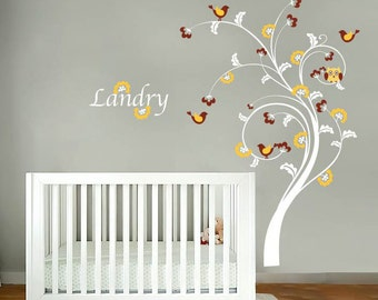 Nursery tree decal - Owl tree - Name decal - Vinyl wall decal - Wall decals - Owls and birds & Cocalo couture | Etsy