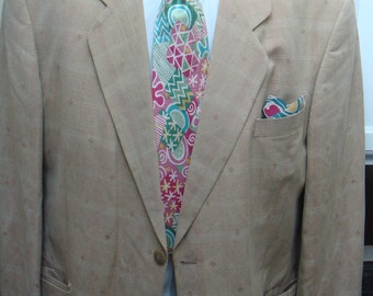 German made linen sport coat with paisley lining  mens size 42r