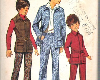 Vintage 1972 Simplicity 5160 Boy's Jacket or Vest & Bell-Bottom Pants Sewing Pattern Size 12 Chest 30""